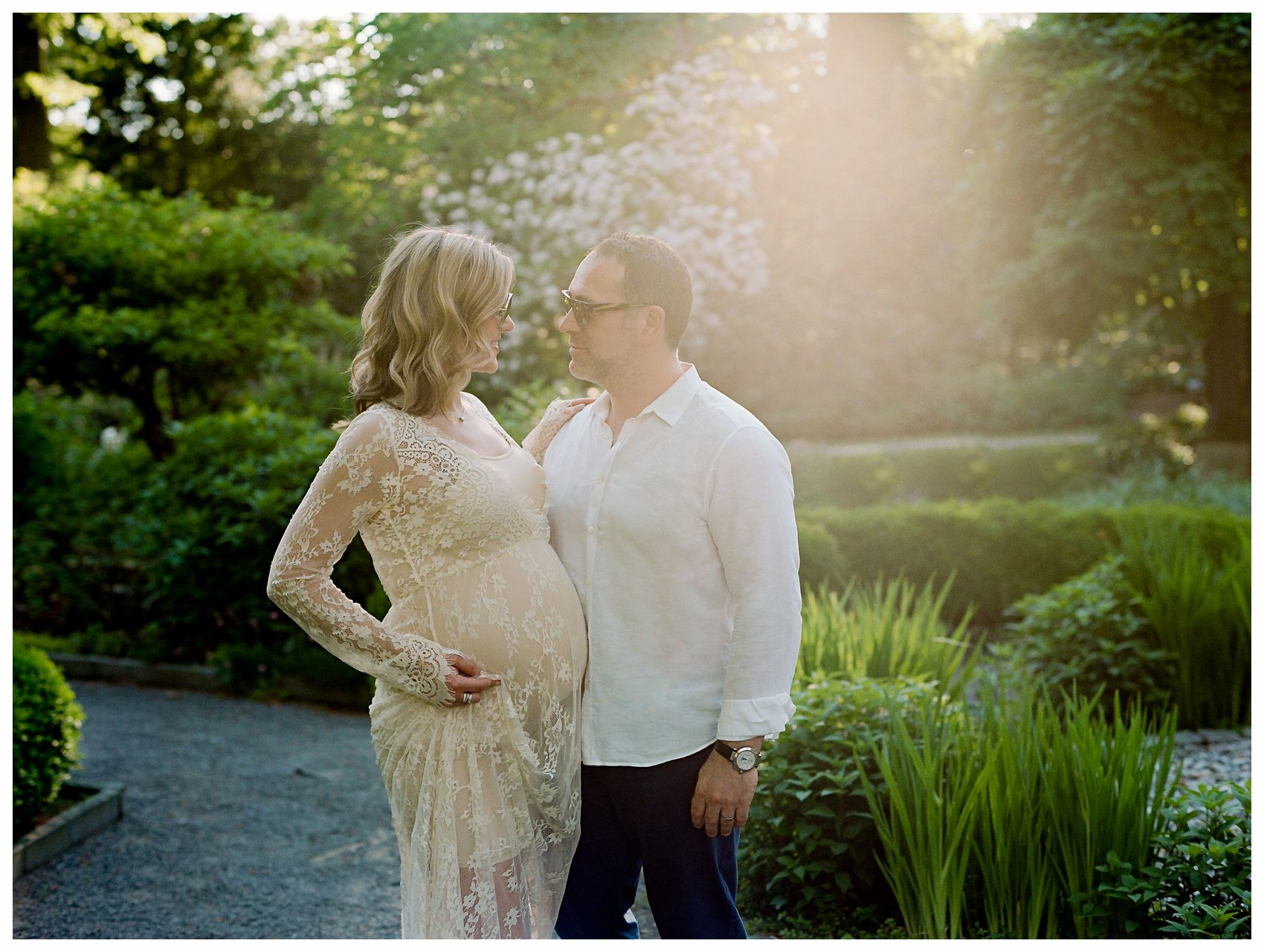 pregnant couple embracing in the maternity session at Van Vleck House & Gardens, Montclair NJ